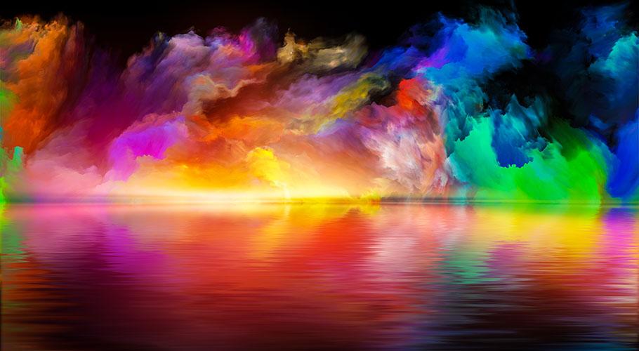 colorful sea and sky